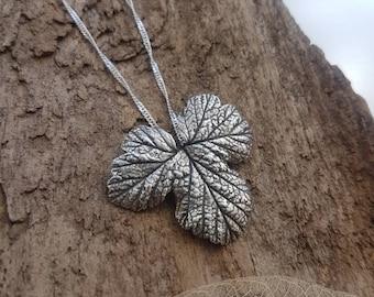 Leaf botanical pendant - handmade in fine silver
