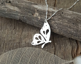 Handmade Sterling silver Butterfly pendant/necklace with hand pierced details