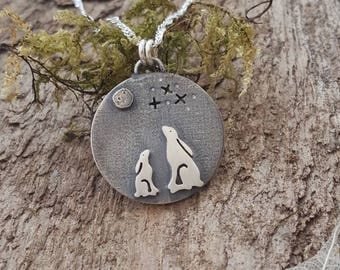 Mother and baby Hare pendant/necklace - handmade in sterling silver