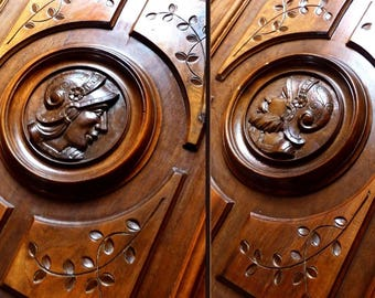 Two Antique French Carved Wood , Figural Door Panels  Knight Face Pediment