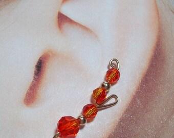 Climbing Vine Earrings - Fire Opal Long Loop