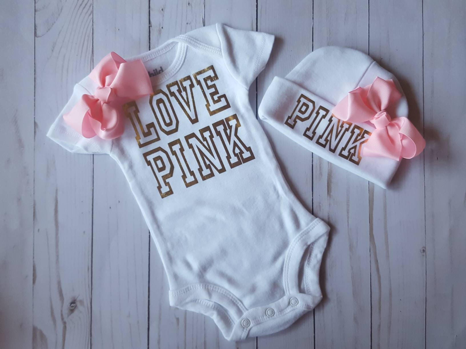 Baby Girl LOVE PINK Coming Home Outfit Newborn Clothes