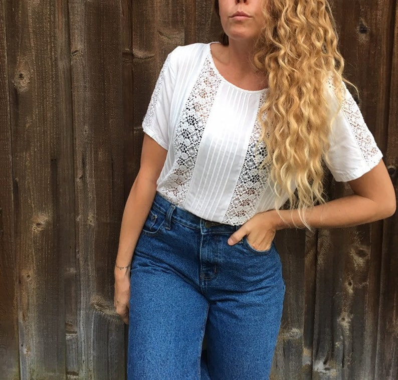 White Crochet Lace Blouse cotton and rayon