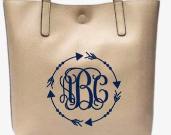 Mother's Day Gift, Monogram Purse, Monogram Leather Tote Bag, Faux Leather, Monogrammed Handbag, Monogrammed Purse, Tote bag, Purse