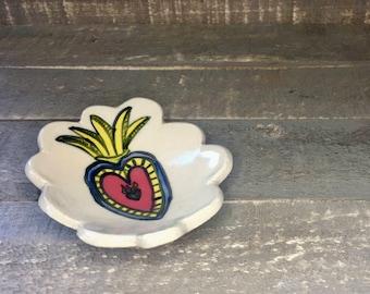 sacred heart, handmade bowl, handmade pottery, trinket dish, ring dish, ring bowl, ceramic ring bowl, ceramic ring dish, handmade ring dish