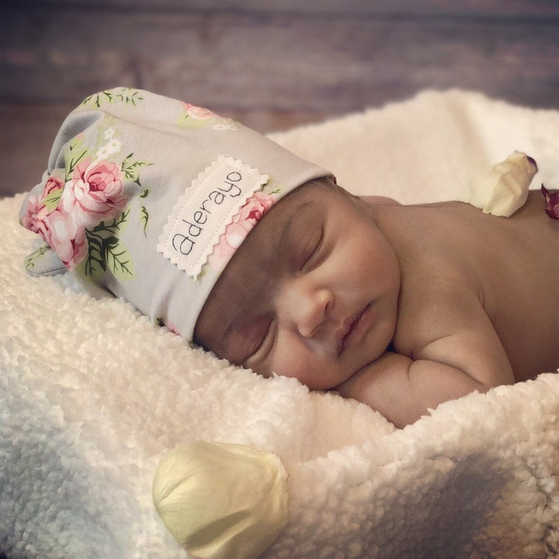 macknbean hospital hat Floral baby hat Personalized baby hat baby hat rose baby hat newborn hat coming home outfit baby name hat