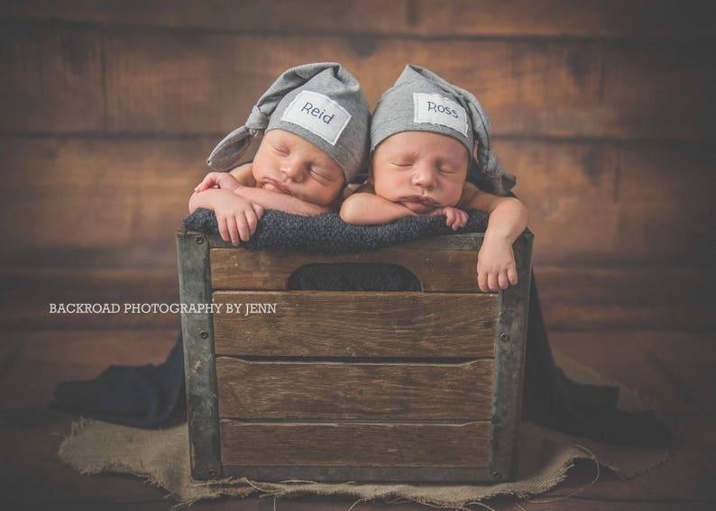 Grey twin hats Twin hats newborn hat twin knot hats Baby name hat sleepy hat personalized twin hat name hat Personalized Newborn hat