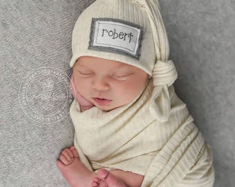 Newborn wrap set, Personalized Newborn hat, knot hat, hospital hat, baby name hat, babyshower gift, name hat, twin hats, basic beanie,