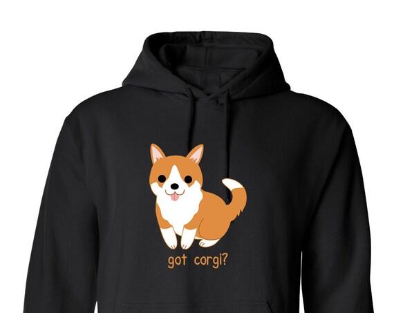Got Corgi? Dog Love for Adult Unisex Hoodie Black and White Warm Clothing Hoodies Adult Hoodies and Sweatshirts Assorted Color Hoodies