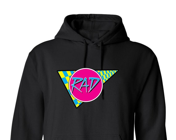 Rad 80s Vintage Retro for Adult Unisex Hoodie Black and White Warm Clothing Hoodies Adult Hoodies and Sweatshirts Assorted Color Hoodies