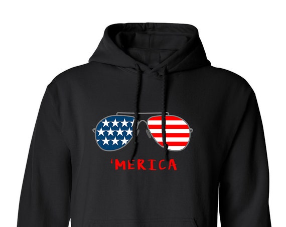 4TH of July Merica Independence Day Glasses American Flag Clothing Merica for Adult Unisex Hoodie Adult Hoodies Assorted Color Hoodies