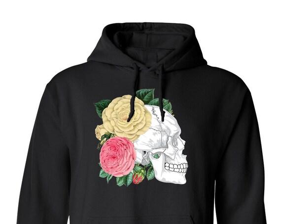 Floral Skull Dia De Los Muertos Adult Unisex Hoodie Hoody Warm Clothing Men and Women Hoodies Hoodies and Sweatshirts Assorted Color Hoodies