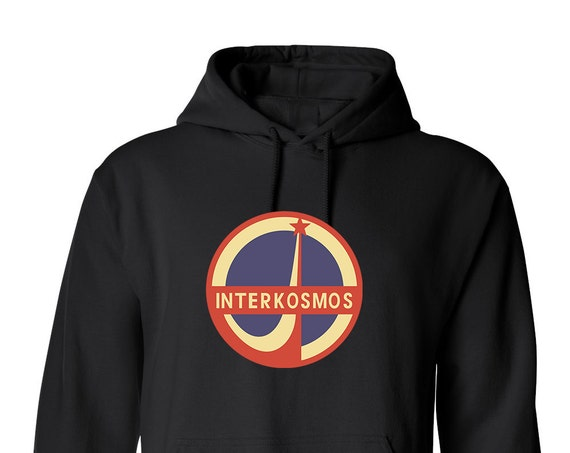 Interkosmos Space Mission for Adult Unisex Hoodie Black and White Warm Clothing Hoodies Adult Hoodies and Sweatshirts Assorted Color Hoodies