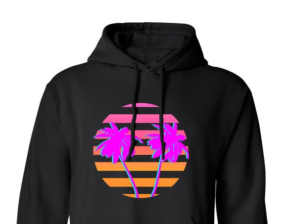 80s Retro Miami Sunset for Adult Unisex Hoodie Black and White Warm Clothing Hoodies Adult Hoodies and Sweatshirts Assorted Color Hoodies