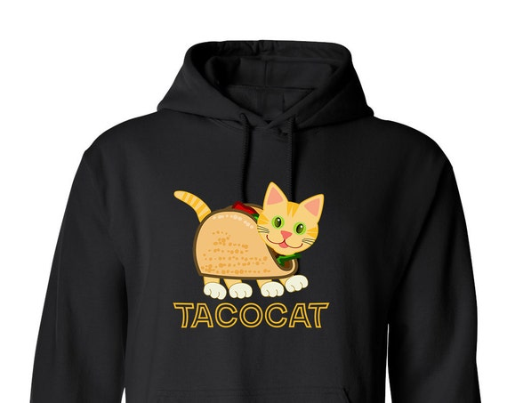 Taco Cat Cute Animal for Adult Unisex Hoodie Black and White Warm Clothing Hoodies Adult Hoodies and Sweatshirts Assorted Color Hoodies