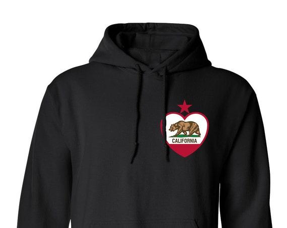 Heart California State Flag Cali Love Cali Bear for Adult Unisex Hoodie Warm Clothing Hoodies Hoodies Sweatshirts Assorted Color Hoodies
