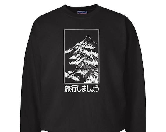 Let's Go Travel Fuji Japan for Adult Unisex Sweater Crewneck Sweatshirts Warm Sweaters Crewneck Women Clothing Men Clothing Ryokō shimashou