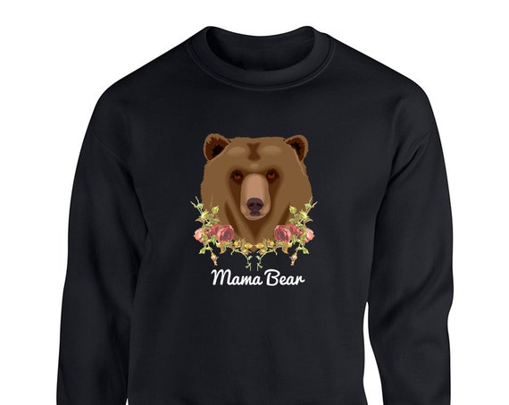 Best Mom Ever Floral Mama Bear for Adult Unisex Sweater Crewneck Sweatshirts Warm Sweaters Crew-neck Women Clothing Men Clothing