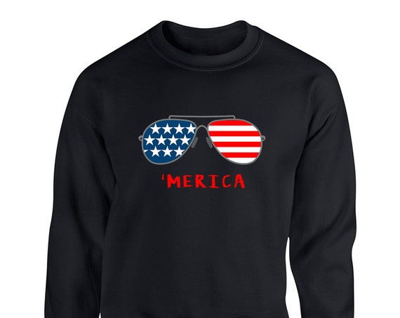 4Th of July Merica Independence Day Glasses American Flag Merica for Adult Unisex Sweater Crewneck Sweatshirt Warm Sweater
