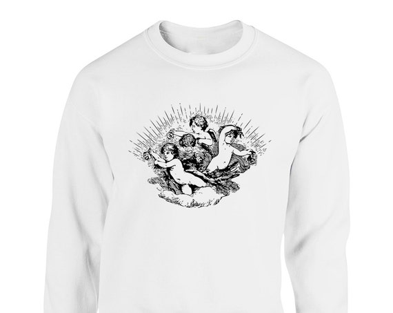 Celestial Angel and Roses for Adult Unisex Sweater Crewneck Sweatshirts Warm Sweaters Crew-neck Women Clothing Men Clothing
