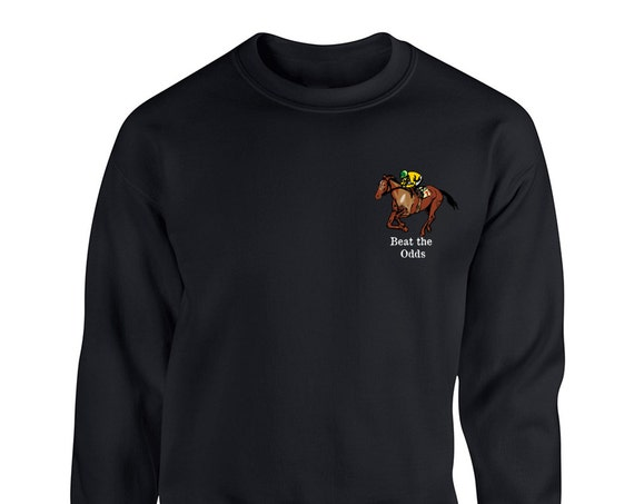 Beat The Odds Horse Motivational Gamble Lucky Pocket for Adult Unisex Sweater Crewneck Sweatshirt Warm Sweater Women Clothing Men Clothing