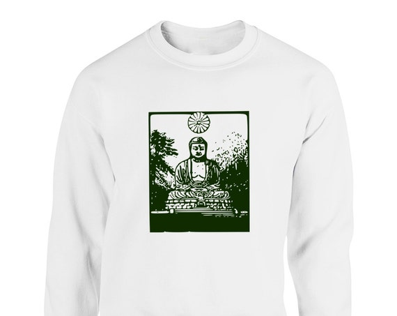 Vintage Buddha Statue Inspirational for Adult Unisex Sweater Crewneck Sweatshirt Warm Sweater Women Clothing Men Clothing