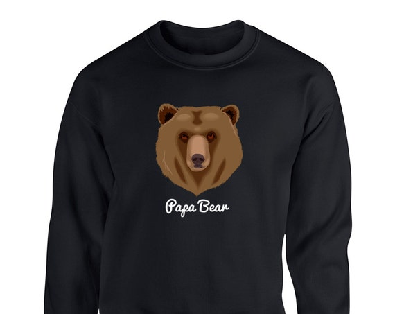 Papa Bear Best Dad Fathers Day Gift for Adult Unisex Sweater Crewneck Sweatshirts Warm Sweaters Crew-neck Women Clothing Men Clothing