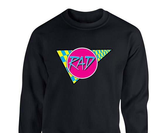 Rad 80s Vintage Retro for Adult Unisex Sweater Crewneck Sweatshirts Warm Sweaters Crew-neck Women Clothing Men Clothing