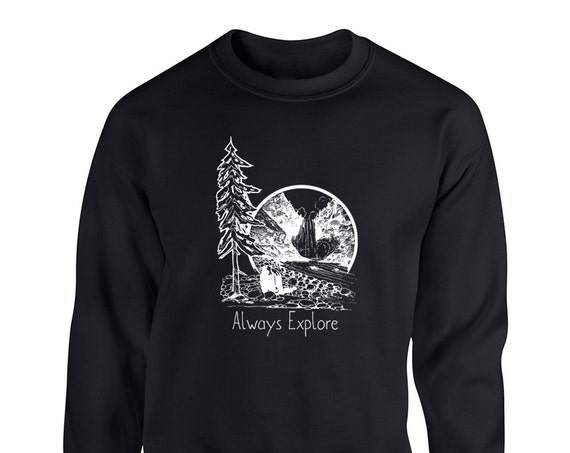 Forest Quote Always Explore Wild life for Adult Unisex Sweater Crewneck Sweatshirts Warm Sweaters Crew-neck Women Clothing Men Clothing