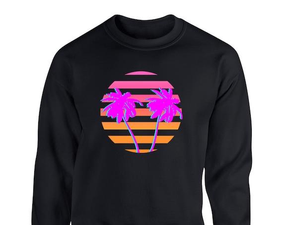 80s Retro Miami Sunset for Adult Unisex Sweater Crewneck Sweatshirts Warm Sweaters Crew-neck Women Clothing Men Clothing