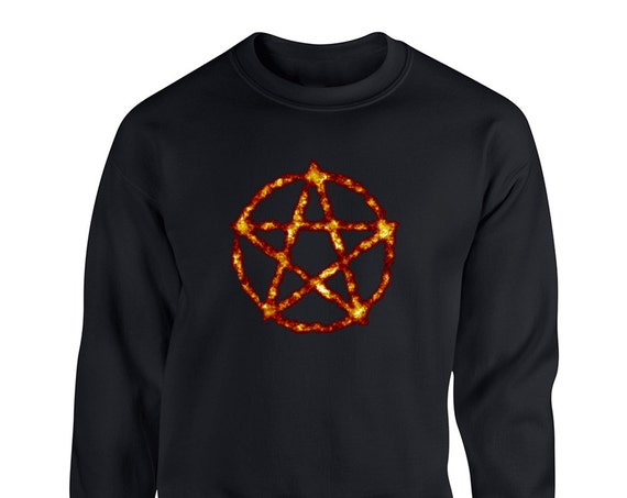 Burning Pentagram Satan Devil Wiccan Tumblr Goth for Adult Unisex Sweater Crewneck Sweatshirt Warm Sweater Women Clothing Men Clothing