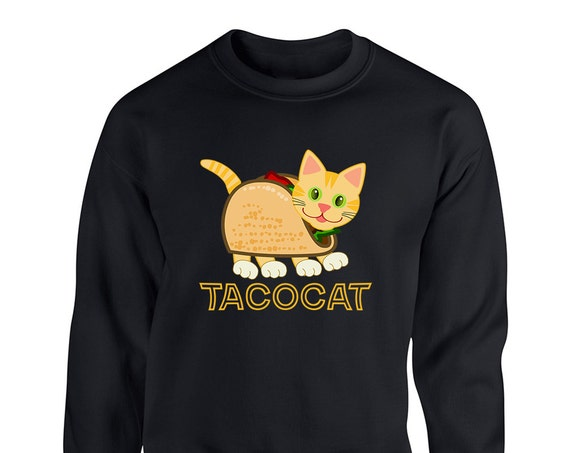 Taco Cat Cute Animal for Adult Unisex Sweater Crewneck Sweatshirt Warm Sweaters Crew-neck Women Clothing Men Clothing