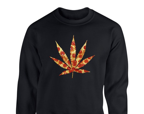 Pizza Weed Marijuanna 420 Hippie Pizza Slice for Adult Unisex Sweater Crewneck Sweatshirt Warm Sweater Women Clothing Men Clothing