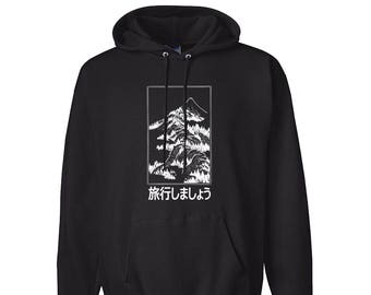 65cd6d8a9 Let's Travel Fuji Japan for Adult Unisex Hoodie Black and White Warm  Clothing Hoodies Adult Hoodies and Sweatshirts
