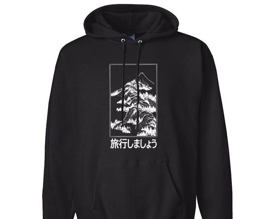 Let's Travel Fuji Japan for Adult Unisex Hoodie Black and White Warm Clothing Hoodies Adult Hoodies and Sweatshirts