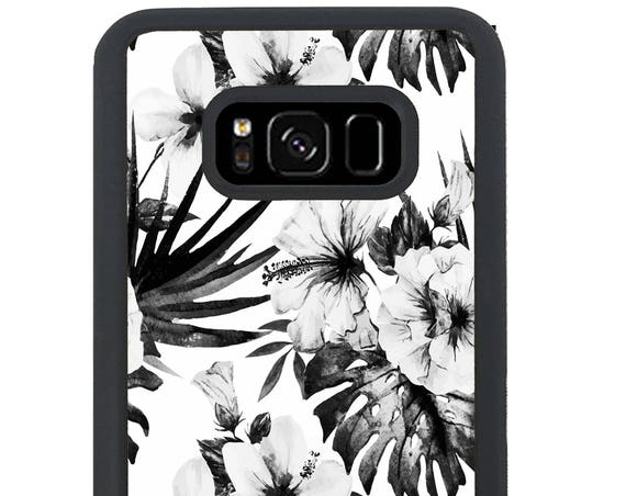 Black And White Hibiscus Floral For Samsung Galaxy S9 Plus, S9, S8 Plus, S8, S7 Edge, S7, S6 Edge Plus, S6 Edge, S6, S5, S4, S3 Phone Case