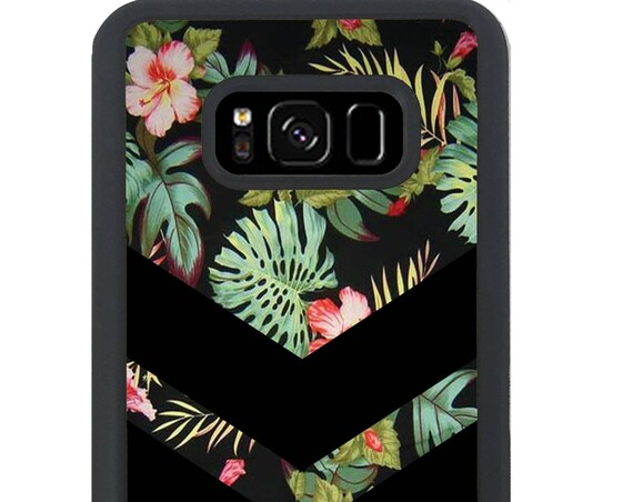 Tropical Chevron Floral Pattern For Samsung Galaxy S9 Plus, S9, S8 Plus, S8, S7 Edge, S7, S6 Edge Plus, S6 Edge, S6, S5, S4, S3 Phone Case
