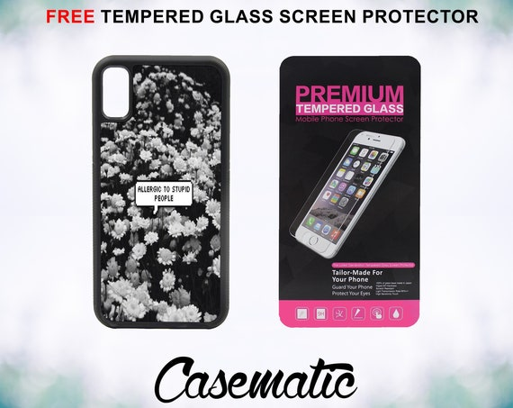 Mature Allergies Quote Case With FREE Tempered Glass Screen Protector For iPhone 8 iPhone 8 Plus iPhone 7 iPhone 7 Plus iPhone X