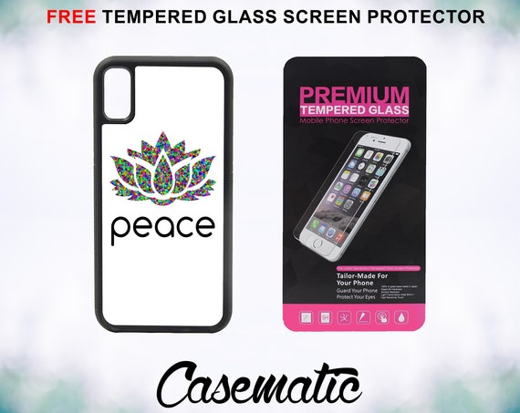 Peace Lotus Case With FREE Tempered Glass Screen Protector For iPhone 8 iPhone 8 Plus iPhone 7 iPhone 7 Plus iPhone X iPhone X Plus