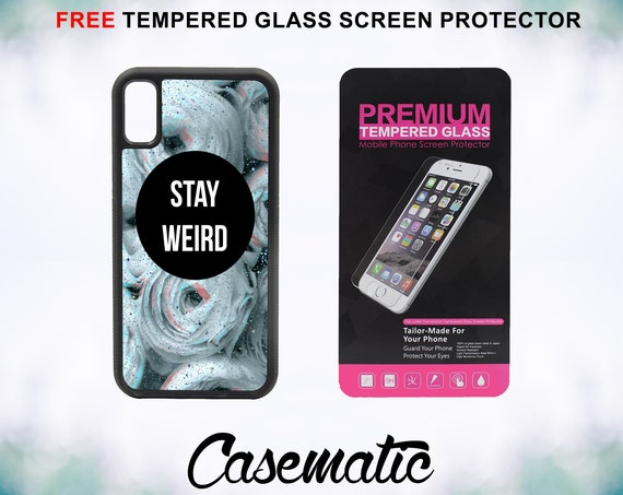 Trippy Floral Stay Weird Case With FREE Tempered Glass Screen Protector For iPhone 8 iPhone 8 Plus iPhone 7 iPhone 7 Plus iPhone X