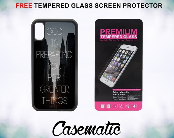 God Is Quote Case With FREE Tempered Glass Screen Protector For iPhone 8 iPhone 8 Plus iPhone 7 iPhone 7 Plus iPhone X