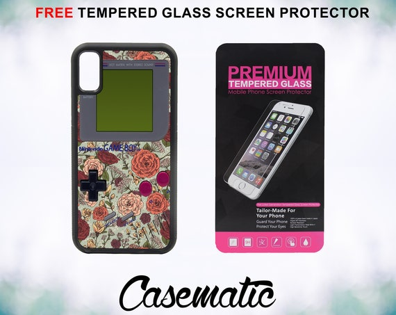Floral Gameboy Case With FREE Tempered Glass Screen Protector For iPhone 8 iPhone 8 Plus iPhone 7 iPhone 7 Plus iPhone X