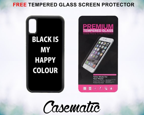 Black Is My Happy Colour Case With FREE Tempered Glass Screen Protector For iPhone 8 iPhone 8 Plus iPhone 7 iPhone 7 Plus iPhone X