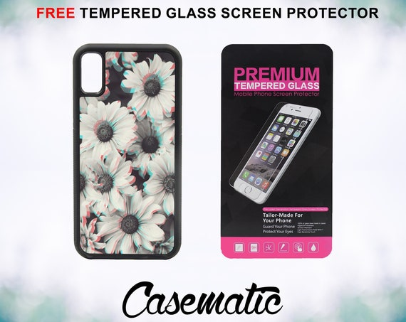 Grunge Flowers Case With FREE Tempered Glass Screen Protector For iPhone 8 iPhone 8 Plus iPhone 7 iPhone 7 Plus iPhone X