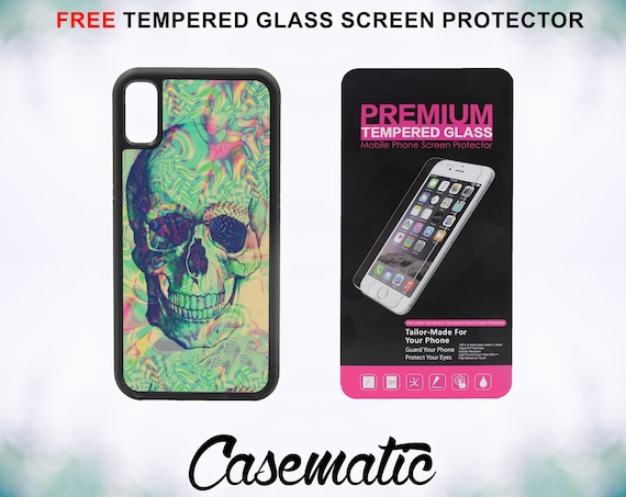 Psychedelic Acid Skull With FREE Tempered Glass Screen Protector For iPhone 8 iPhone 8 Plus iPhone 7 iPhone 7 Plus iPhone X
