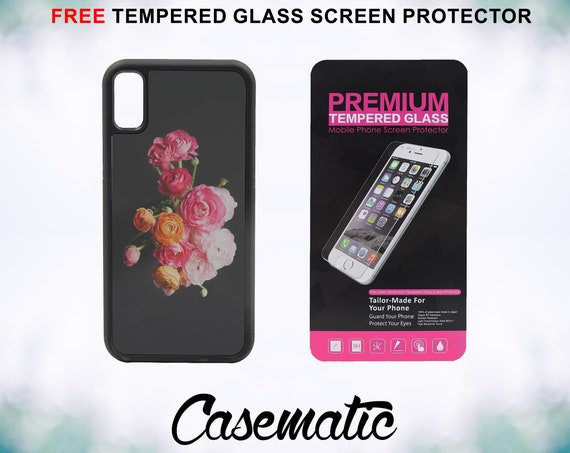 Cute Minimal Flowers Case With FREE Tempered Glass Screen Protector For iPhone 8 iPhone 8 Plus iPhone 7 iPhone 7 Plus iPhone X