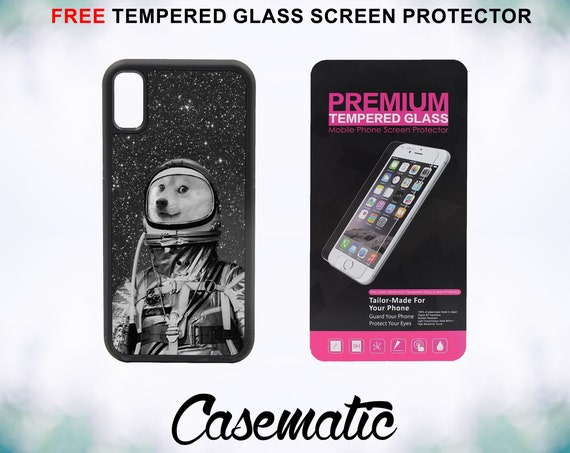 Astronaut Doge Case With FREE Tempered Glass Screen Protector For iPhone 8 iPhone 8 Plus iPhone 7 iPhone 7 Plus iPhone X