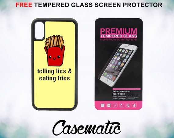 Eating Fries Case With FREE Tempered Glass Screen Protector For iPhone 8 iPhone 8 Plus iPhone 7 iPhone 7 Plus iPhone X
