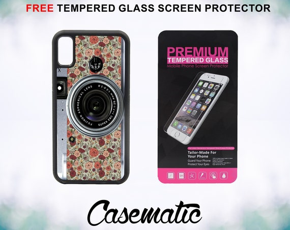 Vintage Camera Floral Pattern Case With FREE Tempered Glass Screen Protector For iPhone 8 iPhone 8 Plus iPhone 7 iPhone 7 Plus iPhone X