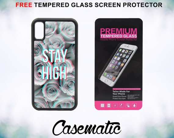 Stay High Floral Art Case With FREE Tempered Glass Screen Protector For iPhone 8 iPhone 8 Plus iPhone 7 iPhone 7 Plus iPhone X